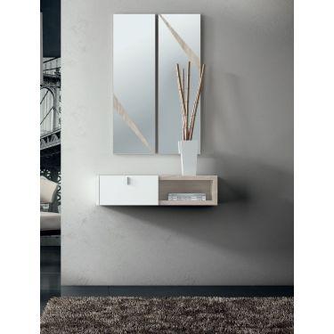 Recibidor estrecho de pared lacado en blanco con espejo - 1125/7142