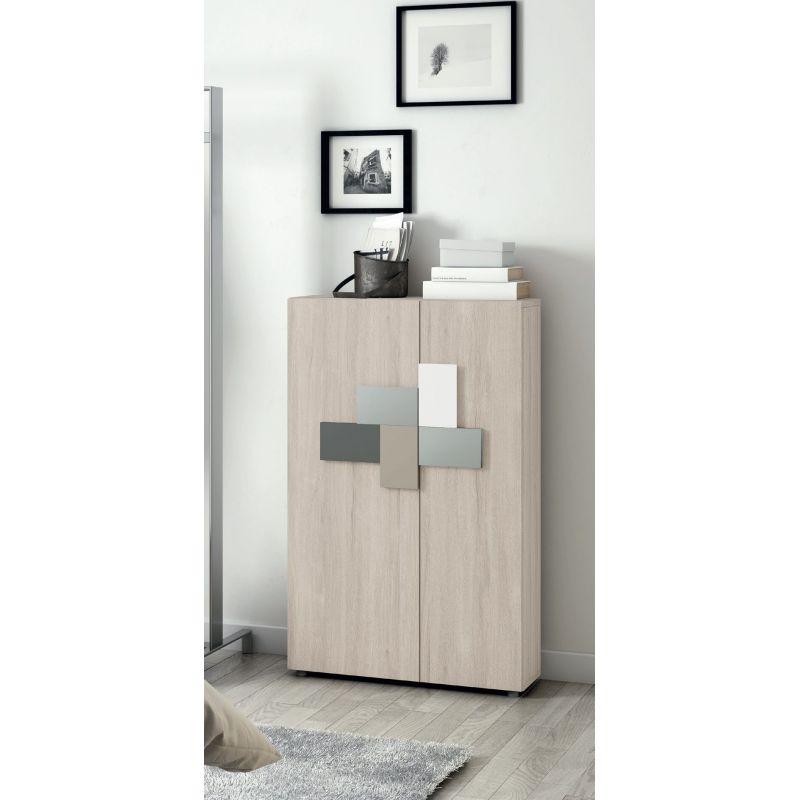 Mueble zapatero alto y estrecho moderno en blanco - 3131