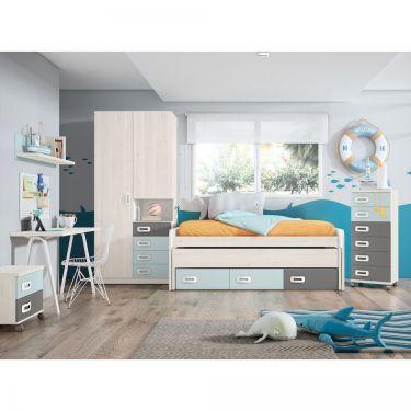 Dormitorio juvenil moderno con armario-  JN19C013