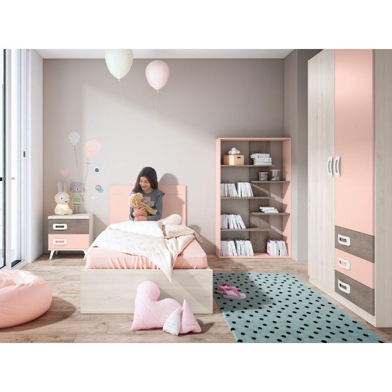 Dormitorio juvenil barato con cama y armario- JN19C025