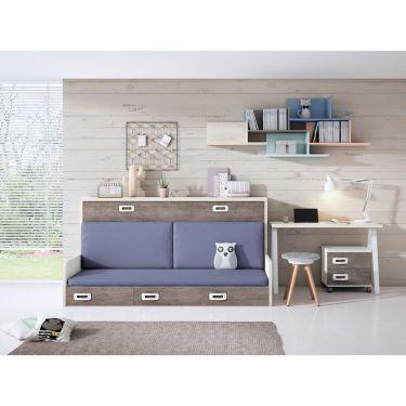 Dormitorio juvenil barato con cama abatible-  JN19C026