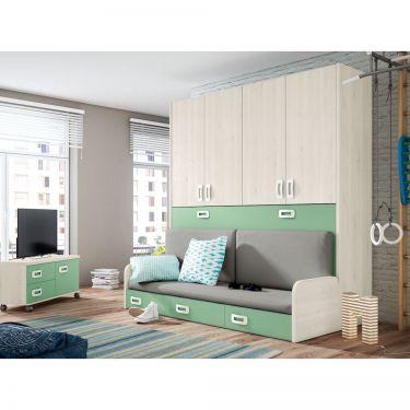 Dormitorio juvenil barato con cama abatible-  JN19C027