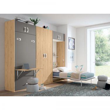 Dormitorio juvenil barato con cama abatible-  JN19C028