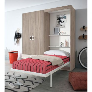 Dormitorio juvenil barato con cama abatible- JN19C029