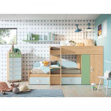 """Dormitorio juvenil barato con litera tipo """"tren""""-  JN19C030"""