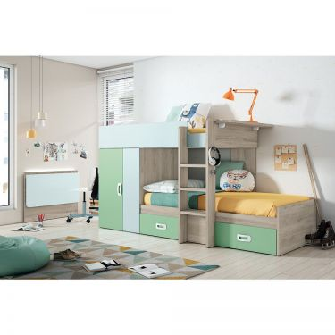 """Dormitorio juvenil barato con litera tipo """"tren""""-  JN19C031"""
