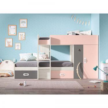 """Dormitorio juvenil barato con litera tipo """"tren""""-  JN19C032"""