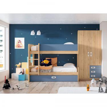 Dormitorio juvenil barato con litera-  JN19C033
