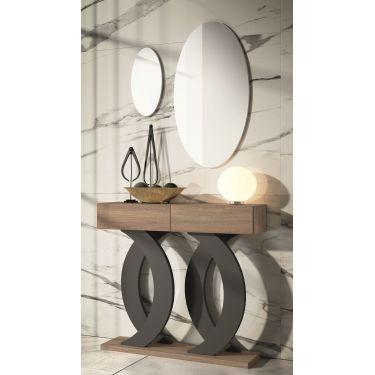 Mueble recibidor moderno con 2 cajones y con 2 espejos - 1210 / 7202 /  7201