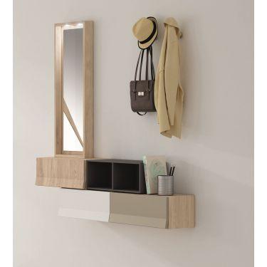 Mueble recibidor moderno con 3 cajones + hueco BOOK y con espejo - PG76