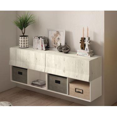 Mueble recibidor moderno con 2 cajones + 2 huecos BOOK  - PG77