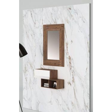 Mueble recibidor moderno con 1 cajón + 1 hueco BOOK y 1 espejo - PG79/1