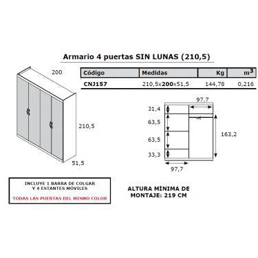 ARMARIO DE 4 PUERTAS DE 211 DE ALTO Y 200 DE ANCHO PERSONALIZADO PARA FRANCESC