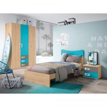 Dormitorio juvenil barato con cama y armario- JN19C024