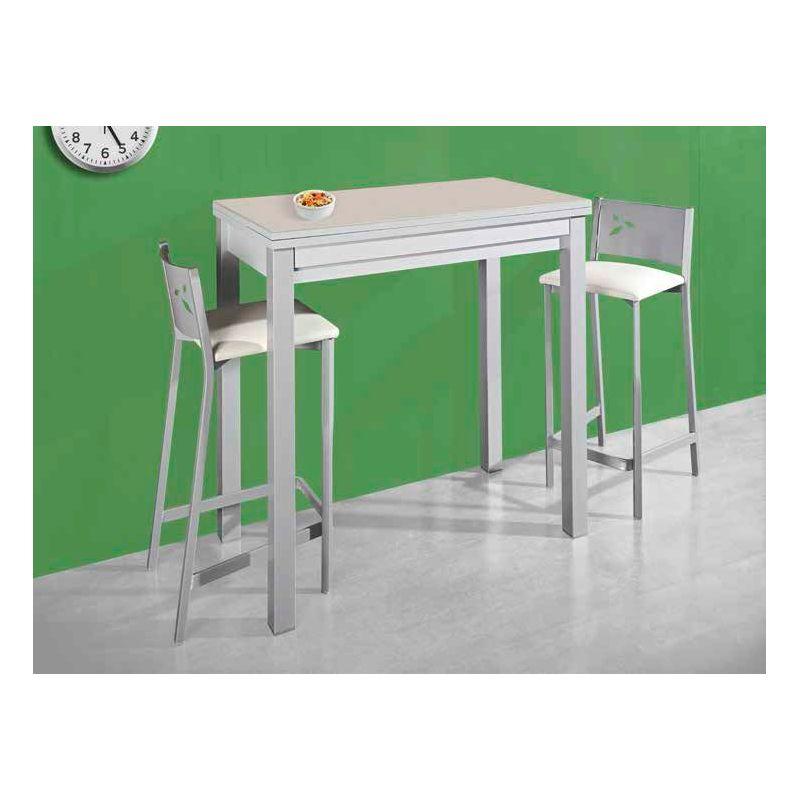 669 Mesa De Cocina Extensible De 110 X 70 Cm Color Blanco Aluminio