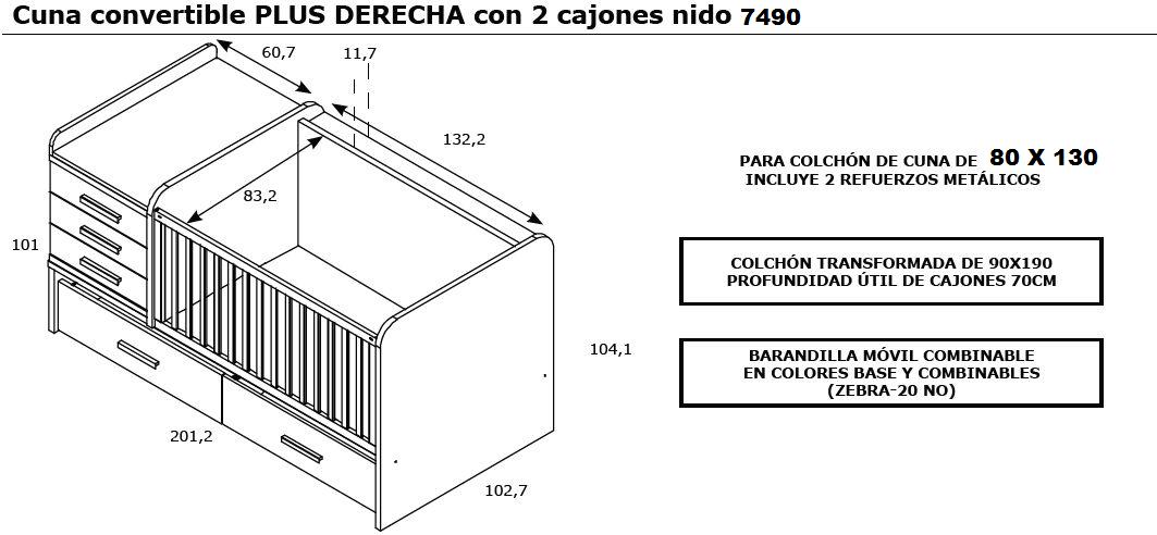 7490 cuna convertible derecha con 2 cajones bajo cuna - Instrucciones montaje cuna ...